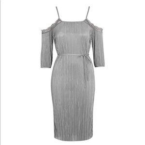 NWOT Topshop plisse cold shoulder dress